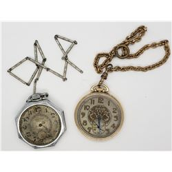 2-OPEN FACE POCKET WATCHES ELGIN & WALTHAM