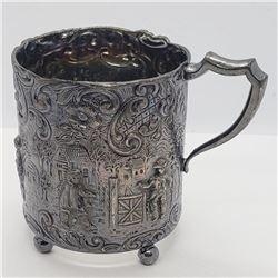 Antique Beautiful Dutch .833 Silver Cup Holder