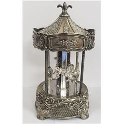 VINTAGE SILVERPLATED MUSICAL CAROUSEL