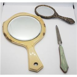 2-VINTAGE HAND MIRRORS & finger nail file