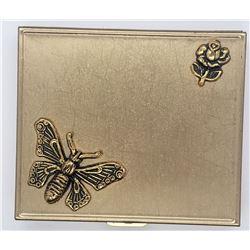 BEE / FLOWER GOLD TONE PILL BOX