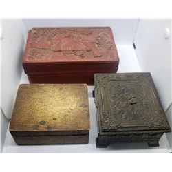 3-KEEPSAKE BOXES: RED ORIENTAL