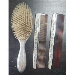.925 STERLING HAIR BRUSH / COMB SET