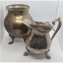 Vintage Silver On Copper 4 Footed Vase