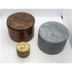 3-COIN BANKS - LINCON CENT & BUFFALO NICKEL