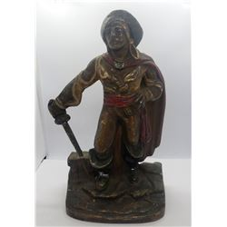 VINTAGE POURED CAST IRON PIRATE STATUE