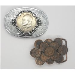 2-MENS BELT BUCKLES-COIN JEWELRY