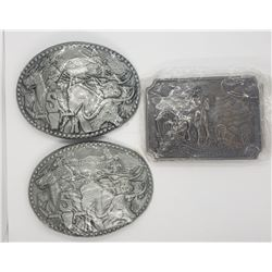 "3-MENS ""COWBOY"" BELT BUCKLES"