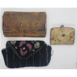 VINTAGE PURSE LOT:  (1)COIN PURSE (1)LEATHER