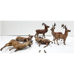 6-Vintage deer stag figures-germany lead metal
