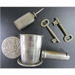 Vintage Metal Collapsible Travel Drink Cup Ornate