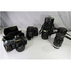 Vintage Cannon T70 Camera W/2 Long Lenses, Flash