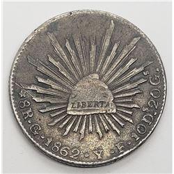 1862 LIBERTAD REPUBLICA MEXICANA 8R