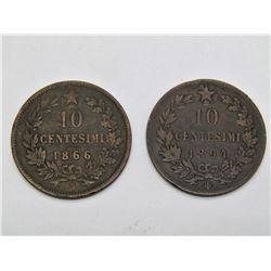 1866 & 1894 ITALY 10 CENTESIMI