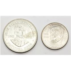 2-1961 PHILIPPINES SILVER COINS