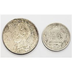 2-FOREIGN SILVER COINS 1907 50 CENTAVOS