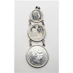 1883 KINGDOM of HAWAII 3 COIN PENDANT