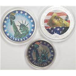 3-COLORIZED COINS: $10 2007 REPUBLIC LIBERIA,