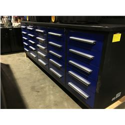 STEELMAN 10FT WORK BENCH WITH 25 DRAWERS WITH LOCK AND ANTI-SLIP LINERS