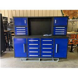 STEELMAN 7FT WORK BENCH WITH 18 DRAWERS, WITH LOCK AND ANTI-SLIP LINERS