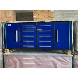 STEELMAN 7FT WORK BENCH WITH 10 DRAWERS, 2 CABINETS WITH LOCK AND ANTI-SLIP LINERS