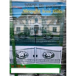 NEW GREATBEAR 20' BI-PARTING WROUGHT IRON GATE WITH DEER ARTWORK IN CENTER