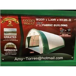 BRAND NEW GOLDEN MOUNT CONTAINER PE DOME SHELTER 20' X 30' X 12'