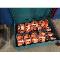 "24 PC RATCHET TIE-DOWNS IN CASE. 16 PC X 2"" W X 27' L WITH MINIMUM BREAKING STRENGTH OF 5000 KG,"