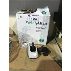BOX OF WELCH ALLYN KLEEN SPEC SINGLE USE VAGINAL SPECULUM & WELCH ALLYN 739 SERIES CHARGER