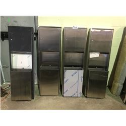 4 STAINLESS STEEL PAPER DISPENSERS/TRASH BINS