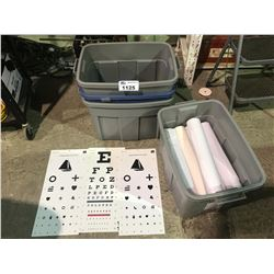 BIN OF DISPOSABLE EXAMINATION BED PAPER SHEETS, EYE EXAM SHEETS, & 3 BINS