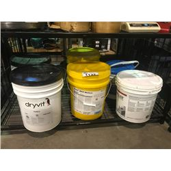 ASSORTED BUCKETS OF DRYWALL RELATED PRODUCTS