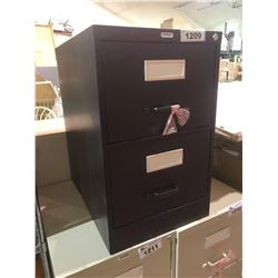 STAPLES 2 DRAWER FILING CABINET WITH KEY VISIBLE DAMAGE