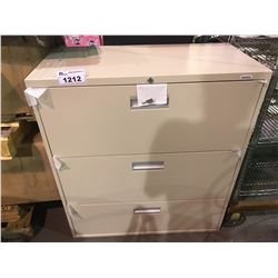 3 DRAWER FILING CABINET WITH KEY VISIBLE DAMAGE
