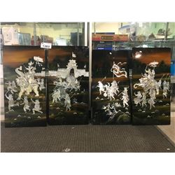 4 INLAID MOTHER OF PEARL CHINESE PLAQUES