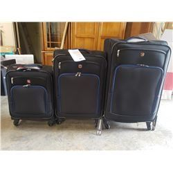 NEW IN BOX SWISS GEAR 3 PIECE SUITCASE BLACK WITH BLUE TRIM