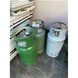 3 PROPANE CANISTERS ONE APPROX. 3/4 FULL