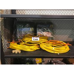3 EXTENSION CORDS WITH CARRYING HANDLES & 2 REVERSIBLE POLY TARPS
