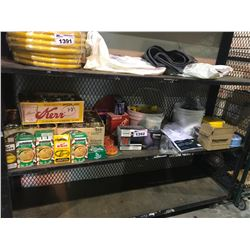ASSORTED CANNING JARS, SEAT COVERS, NITRILE GLOVES, DRESS SHIRTS, & MORE