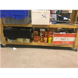 ASSORTED TOOLS, BOX OF FRAM OIL FILTERS, & MORE