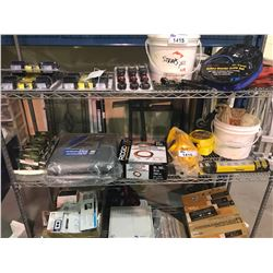 ASSORTED STRAPS, EXTENSION CORD, CHAINS, TARPS, & SOLID FUEL CAMP STOVE