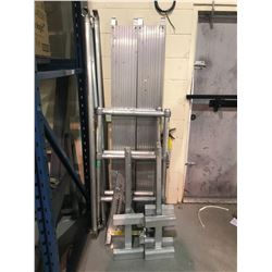 SCAFFOLDING PIECES AND 4 ALUMINUM LADDER JACKS