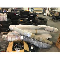ASSORTED CARPETS & LARGE ROLLING CART