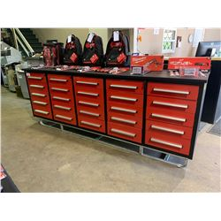 STEELMAN 10FT WORK BENCH WITH 25 DRAWERS WITH LOCK AND ANTI-SLIP