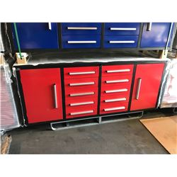 STEELMAN 7FT WORK BENCH WITH 10 DRAWERS, 2 CABINETS WITH LOCK AND ANTI-SLIP