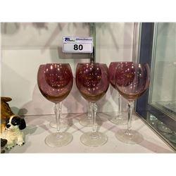 LOT OF 6 CRANBERRY GLASS WINE GLASSES