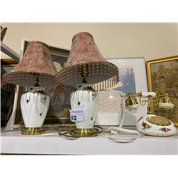 PAIR OF ROYAL ALBERT OLD COUNTRY ROSE LAMPS AND TELEPHONE