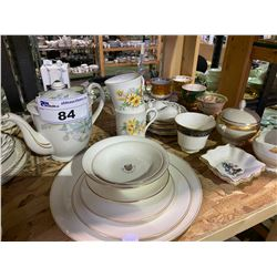 SHELF LOT OF MISC. COLLECTABLES AND CHINAWARE