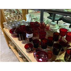 SHELF LOT INCLUDING CHINAWARE, RUBY GLASS, CRYSTAL AND GLASSWARE