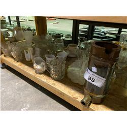 SHELF LOT OF MISC. COLLECTABLES, CHINA AND GLASSWARE